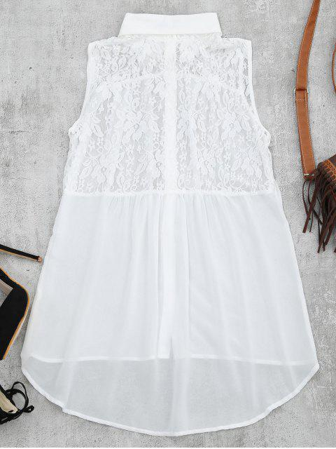 sale Lace Panel High Low Tank Top - WHITE S Mobile