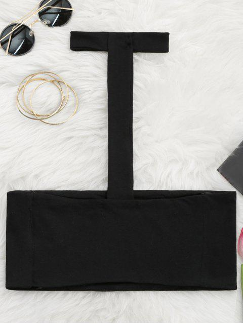 womens Spaghetti Straps Choker Tube Top - BLACK S Mobile