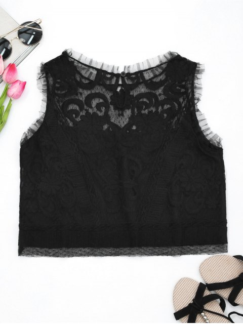 online Embroidered Ruffles Lace Tank Top - BLACK S Mobile
