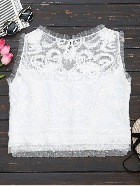 outfit Embroidered Ruffles Lace Tank Top - WHITE S Mobile