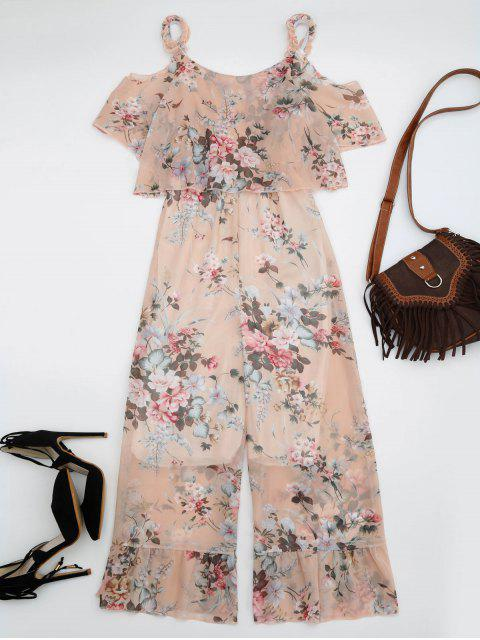 Ruffle Cold Shoulder Floral Palazzo Jumpsuit - Rose Abricot Clair S Mobile