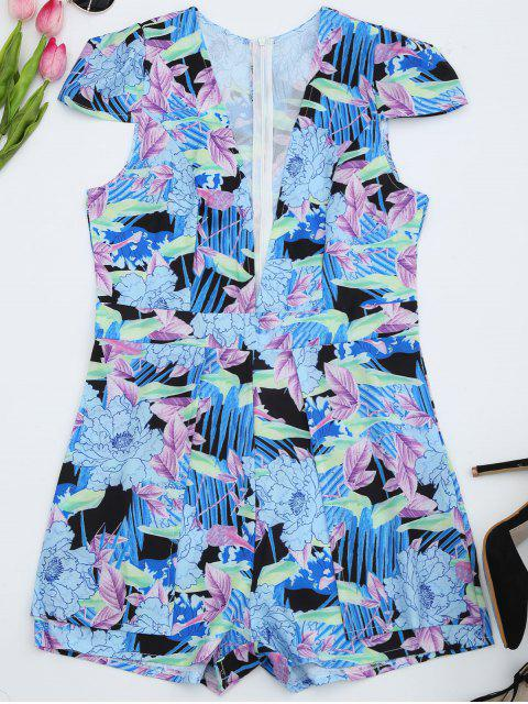 shop Plunging Cap Sleeve Floral Romper - FLORAL M Mobile