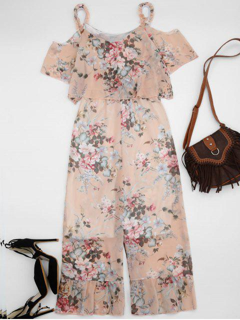 sale Ruffle Cold Shoulder Floral Palazzo Jumpsuit - LIGHT APRICOT PINK L Mobile