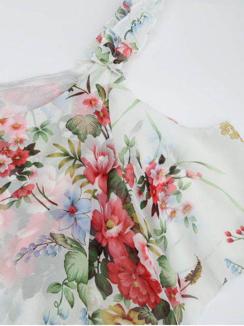 Ruffle Cold Shoulder Floral Palazzo Jumpsuit - Blanc S Mobile