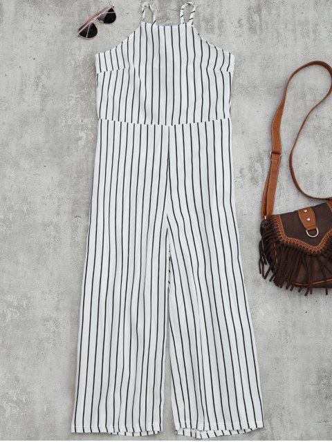 women Striped Open Back Wide Leg Jumpsuit - WHITE M Mobile