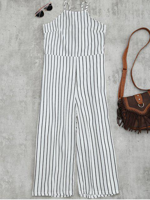 women's Striped Open Back Wide Leg Jumpsuit - WHITE L Mobile