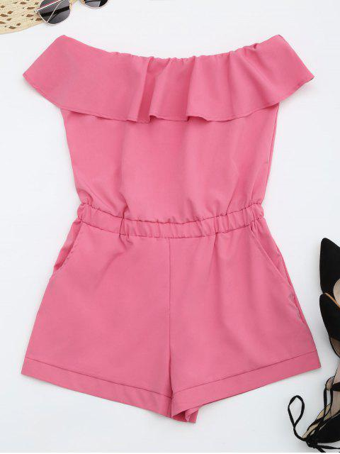 lady Strapless Ruffle Romper With Pockets - SANGRIA S Mobile