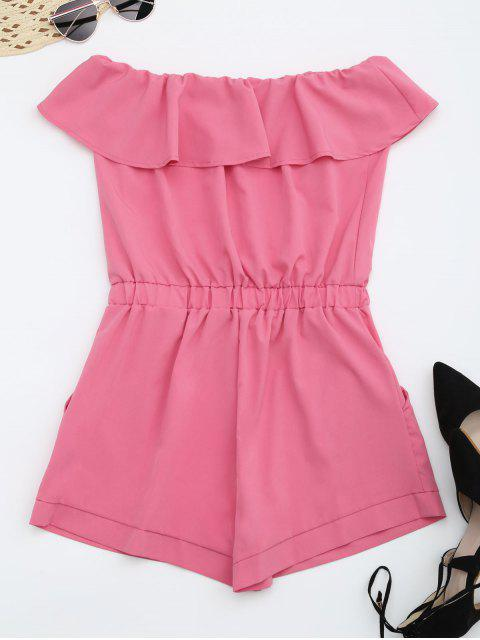 online Strapless Ruffle Romper With Pockets - SANGRIA L Mobile