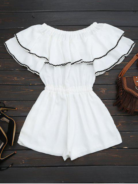 hot Off Shoulder Drawstring Waist With Ruffle Overlay - WHITE S Mobile