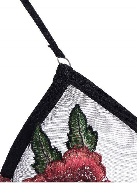 fashion Bralette Floral Applique Mesh Bra - BLACK M Mobile