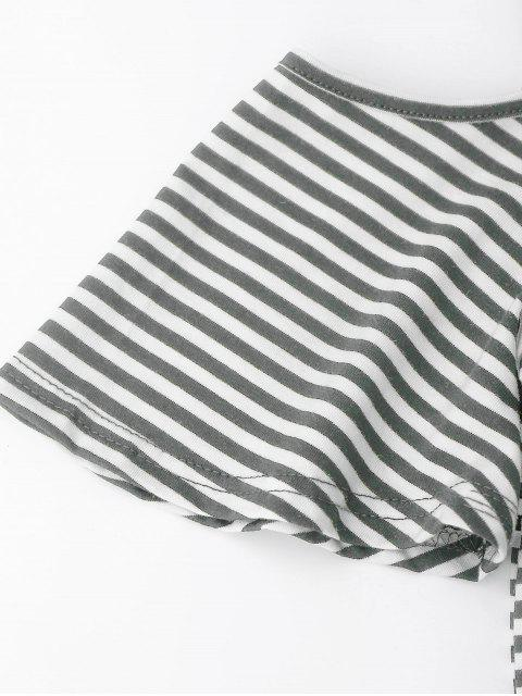 T-shirt à rayures à épaule dénudées avec fente au dos - Gris Foncé XL Mobile