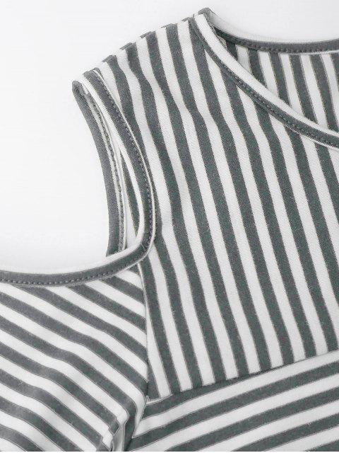 affordable Cold Shoulder Striped Back Slit T-shirt - DEEP GRAY S Mobile