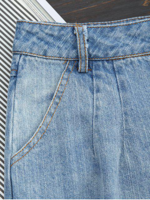Bouton déchiré Up Wide Leg Capri Jeans - Denim Bleu S Mobile