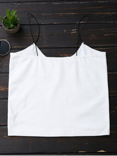 women's Cropped Letter Tank Top - WHITE M Mobile
