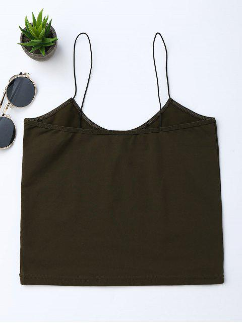buy Cropped Letter Tank Top - ARMY GREEN M Mobile