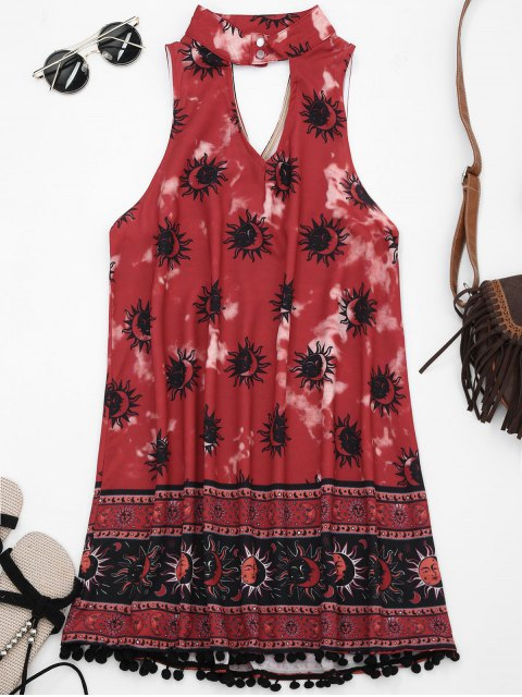 hot Choker Mask Graphic Turnic Dress with Fuzzy Balls - WINE RED S Mobile