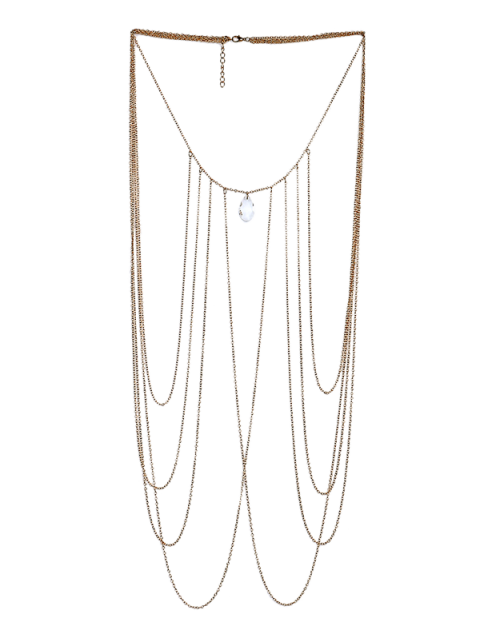 affordable Artificial Crystal Teardrop Fringed Body Chain - GOLDEN  Mobile