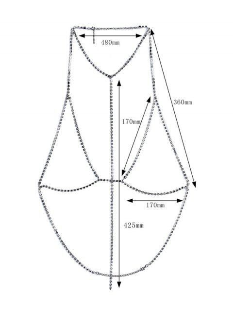 buy Rhinestoned Geometric Long Bra Body Chain - SILVER  Mobile