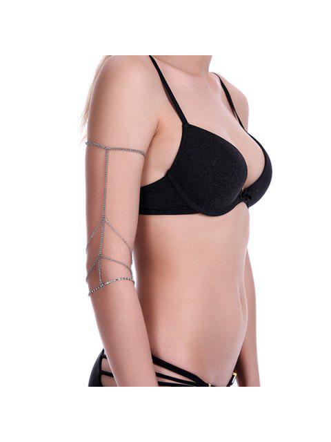 women's Embellished Rhinestone Arm Chain - SILVER  Mobile