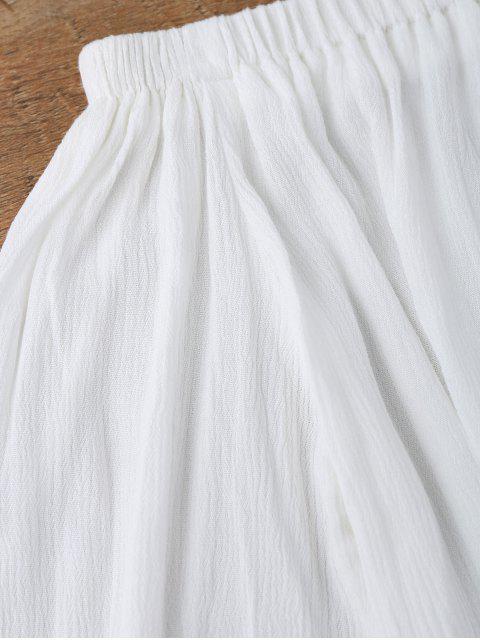 ladies Off Shoulder Floral Applique Cover Up Top - WHITE L Mobile