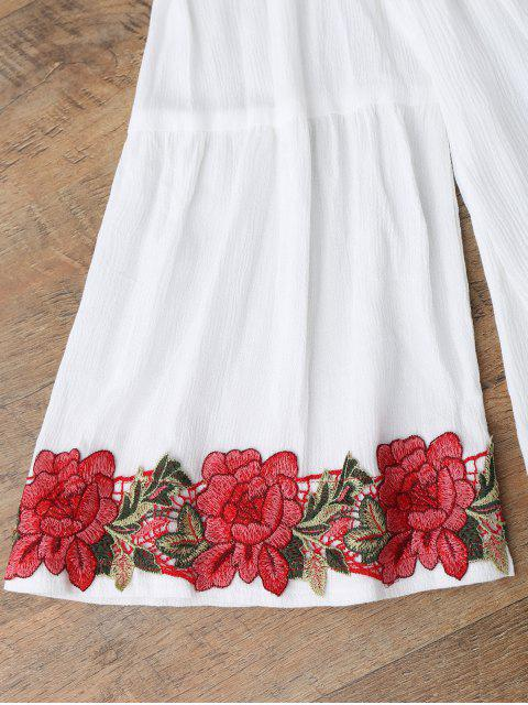 lady Off Shoulder Floral Applique Cover Up Top - WHITE M Mobile