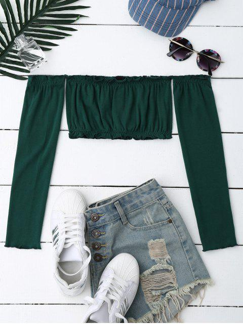 best Button Up Off Shoulder Cropped Top - BLACKISH GREEN ONE SIZE Mobile