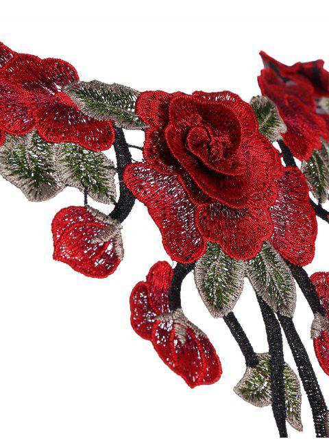 buy Strappy Floral Applique Bra Straps - BLACK M Mobile