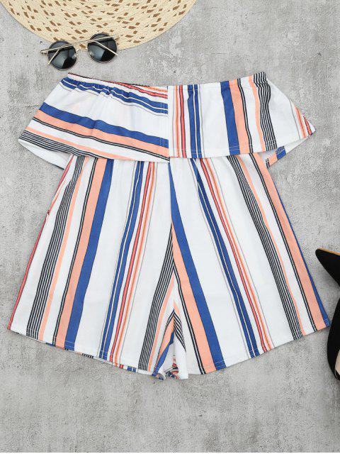fancy Bandeau Overlay Romper With Multi Stripes - COLORMIX XL Mobile