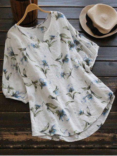 online Loose Arc Hem Floral Blouse - WHITE ONE SIZE Mobile