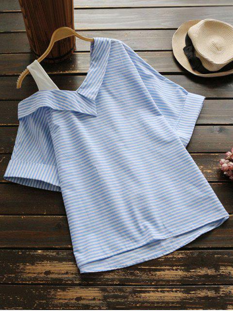 best Loose One Shoulder Striped Blouse - STRIPE L Mobile