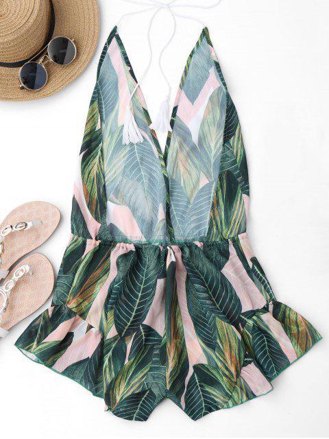 Drawstring Backless Leaf Print Beach Romper - Floral M Mobile