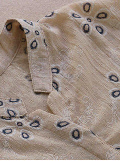 womens Loose Embroidered Linen High Low Blouse - PINKBEIGE ONE SIZE Mobile