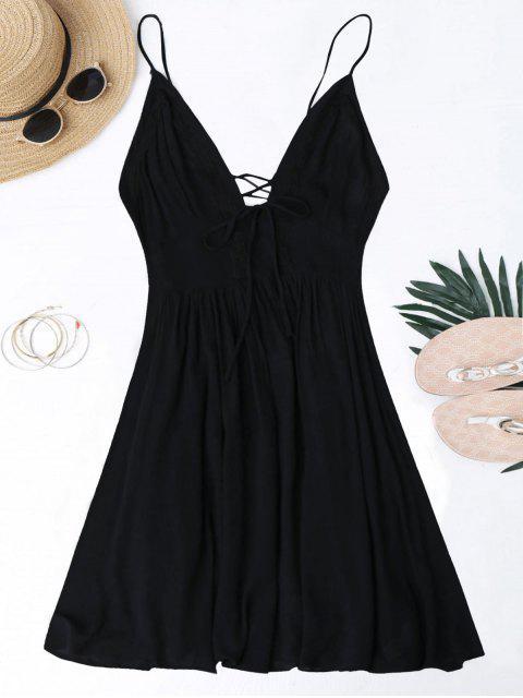 Vestido de Sol con Tiras Cruzadas con Escote Pico y Escote Pronunciado en Espalda - Negro S Mobile