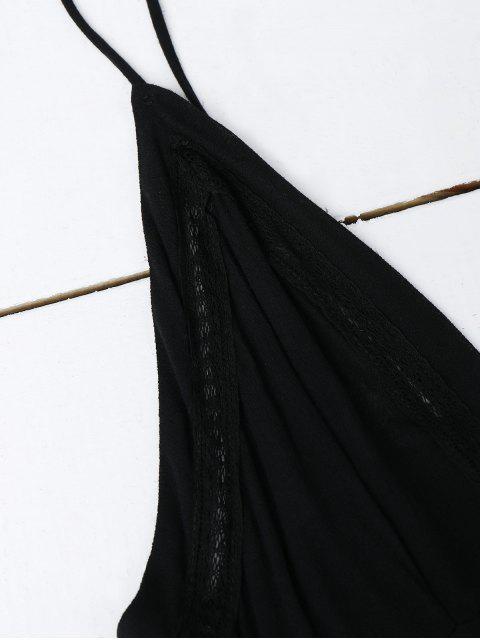women's Plunge Low Back Lace Up Sundress - BLACK M Mobile