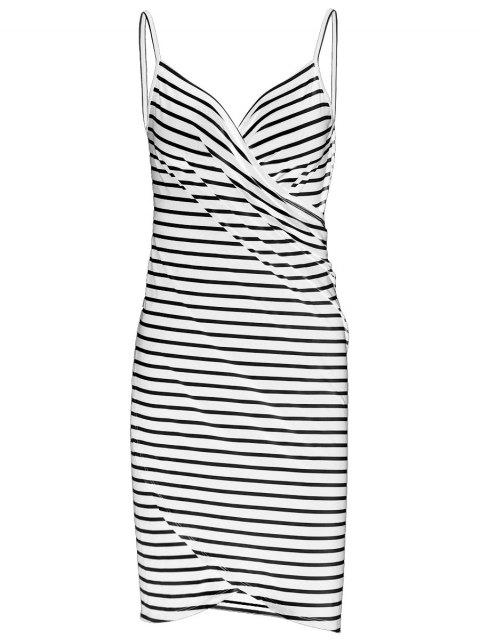 shop Striped Open Back Multiway Wrap Cover-ups Dress - WHITE XL Mobile