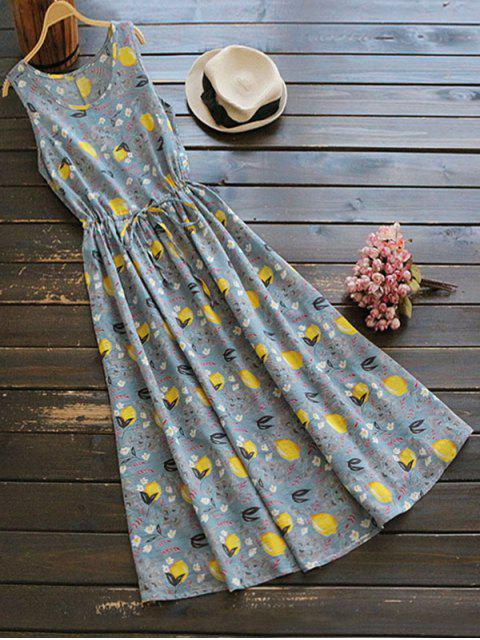 buy Sleeveless Drawstring Lemon Print Maxi Dress - COLORMIX ONE SIZE Mobile