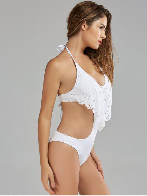 online Halter Backless Padded Swimwear - OFF-WHITE S Mobile