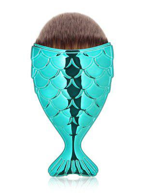 Cepillo De Maquillaje Facial Portátil De Diseño De Sirena - Azul Verde