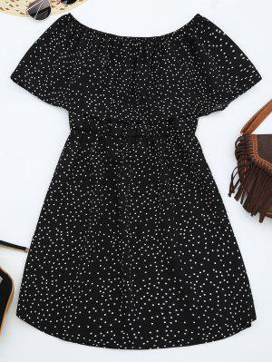 Off Shoulder Ruffle Polka Dot Dress - Black Xl