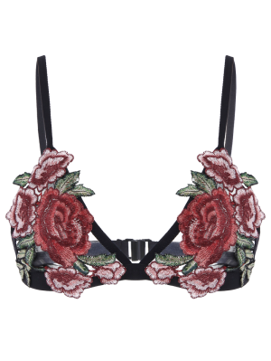 Sujetador De Cierre Floral Para Apliques - Negro Xl