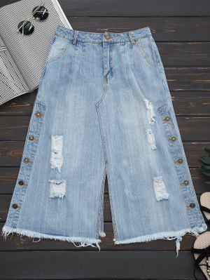 Jeans Capri Côtelé Embelli Bouton à Jambe Large - Denim Bleu M