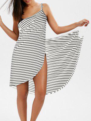 Vestido Envuelto A Rayas Con Escote Pronunciado En Espalda - Blanco L