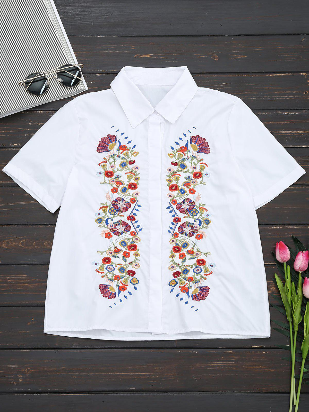 Short Sleeve Floral Embroidered Shirt - White M