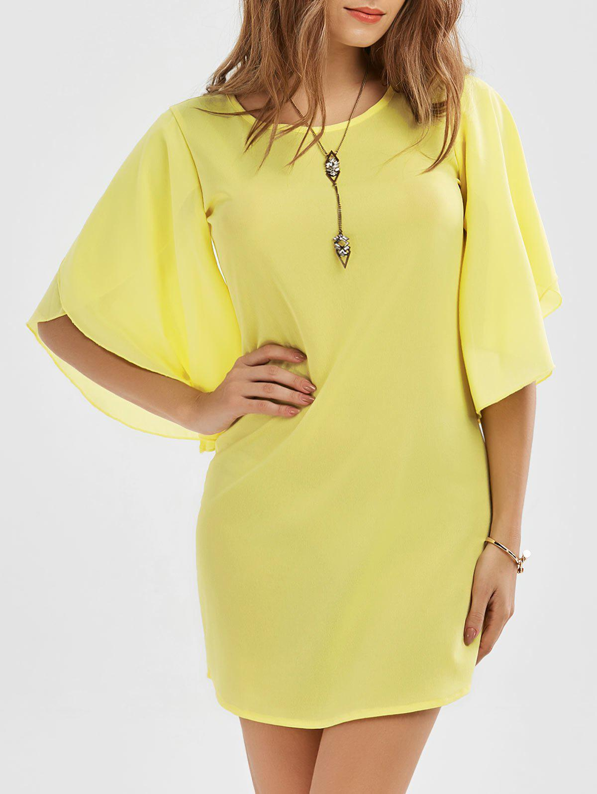 Petal Sleeve Mini Shift Dress 213309104
