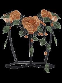 Caged Floral Applique Bra Straps - Black M