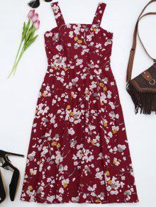 Fit And Flare Floral Flowy Sundress - Red 2xl