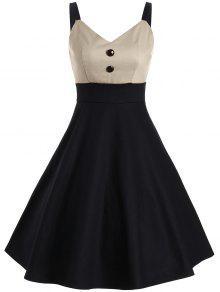فستان زر بأسلوبين كلاسيكي مثير - البيج الفاتح L