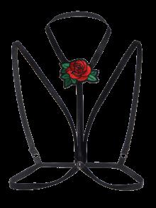 Buy Cupless Bondage Floral Applique Bra Strap - BLACK M