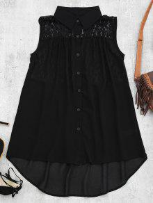 Lace Panel High Low Tank Top - Black M