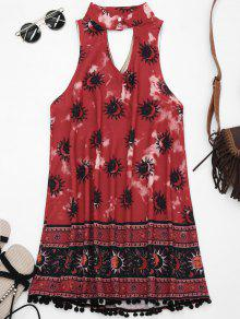 Choker Mask Graphic Turnic Dress With Fuzzy Balls - Wine Red M